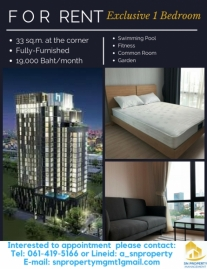 RentSales 1 Bedroom at the Sathorn area 33 sqm