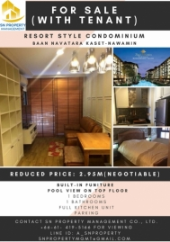 1 Bedroom for sales with tenant 38 sqm